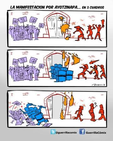 La manifestación por Ayotzinapa en tres cuadros, de GuerrillaCómix